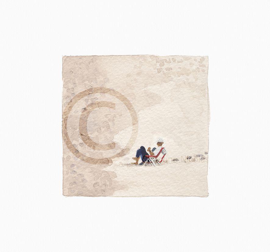 GA011 - Lecteur solitaire sur la plage