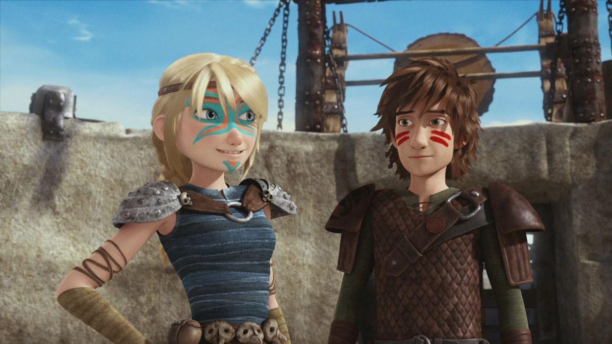 Astrid et Harold dans le court métrage ''Première course de Dragons : Prêt, Feu, Partez !''