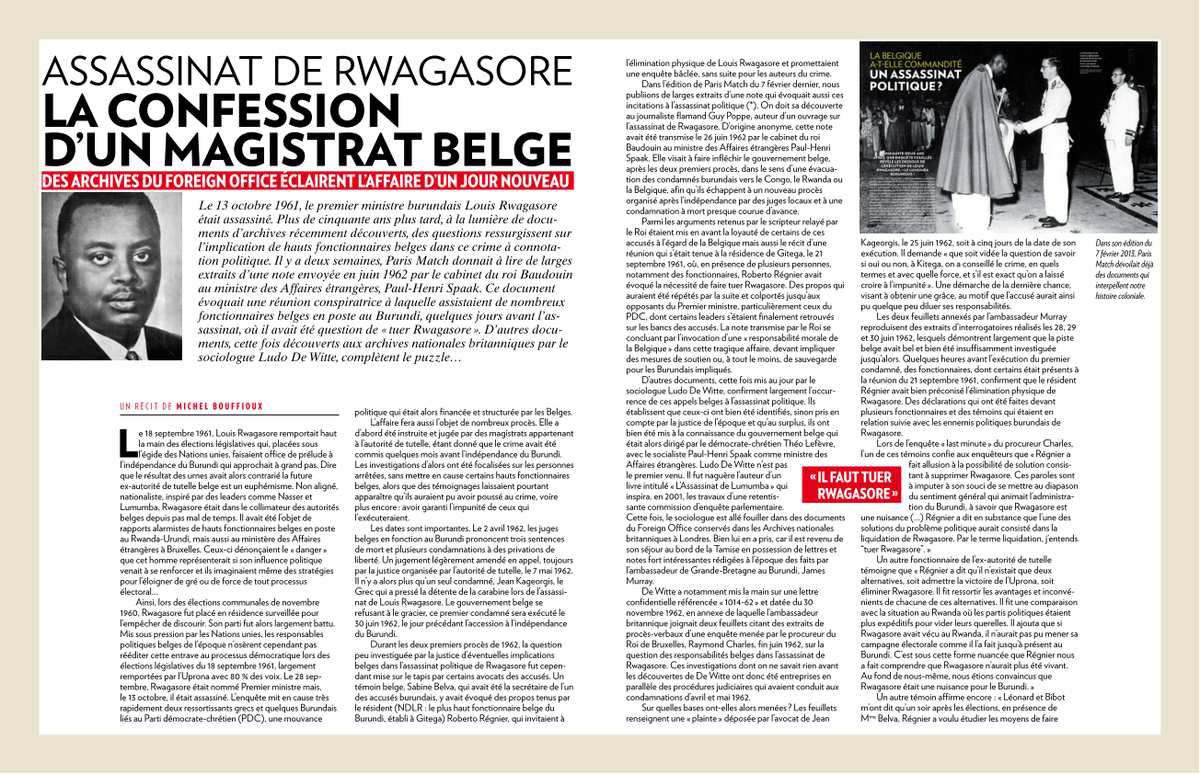 Assassinat de Rwagasore : La confession d'un magistrat belge (28/02/2013)