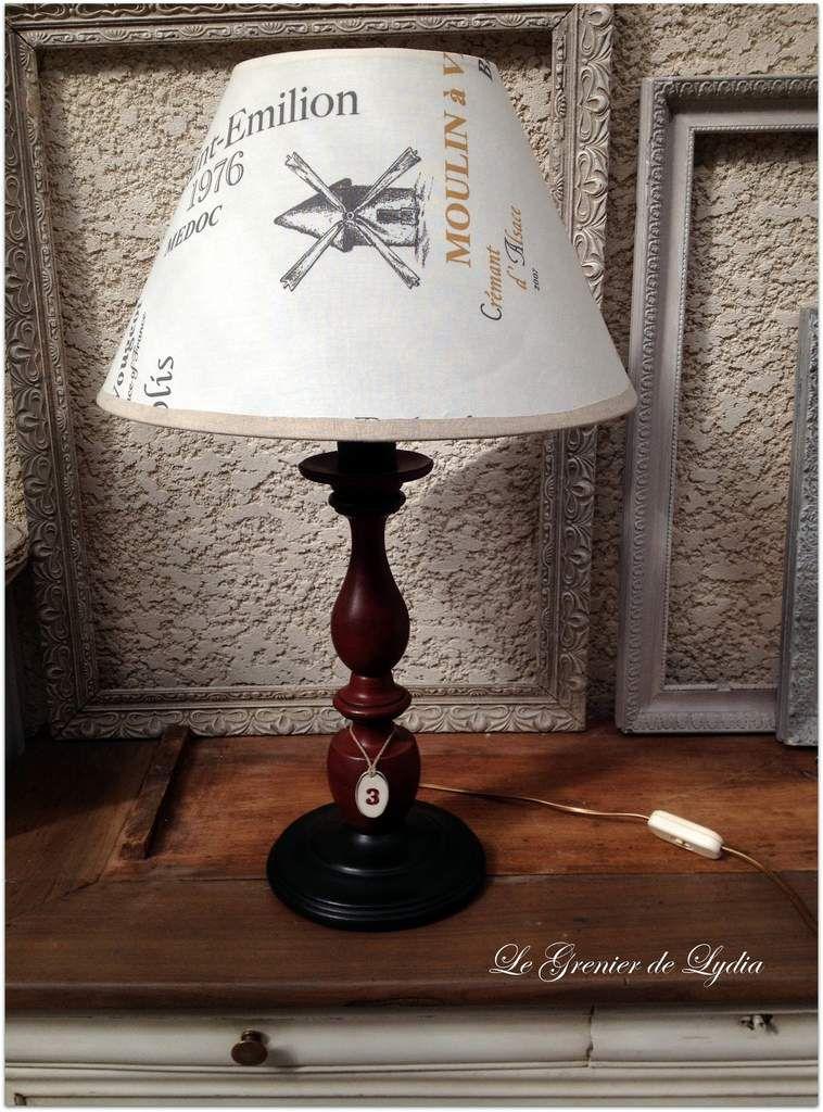 Lampe de salon patinée &quot&#x3B;Amateur de Grands Crus&quot&#x3B;