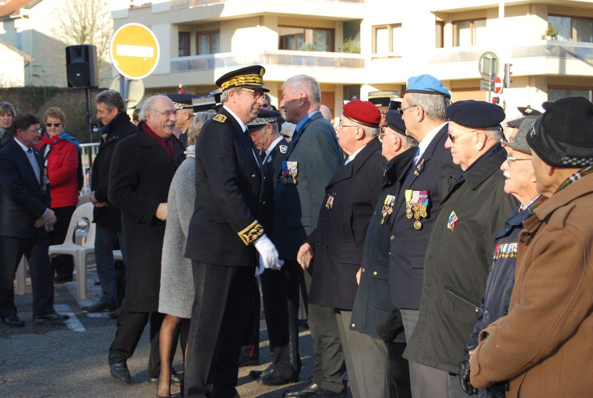 Commémoration Journée nationale d'hommage aux morts pour la France pendant la guerre d'Algérie et les combats du Maroc et de la Tunisie à Bourg-en-Bresse dans l'Ain