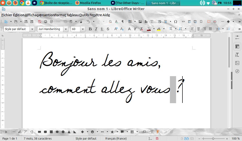 Exemple de police dans LibreOffice 5