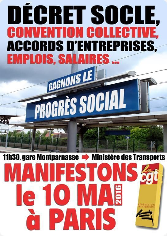 10 mai 2016 : manifestation nationale cheminots à Paris