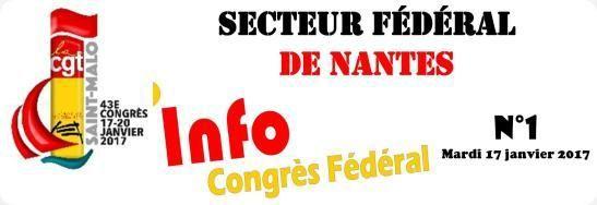 Congrès Fédéral : Info n°1 du 17 janvier