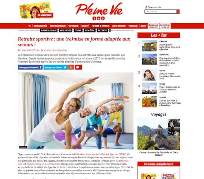 RSP dans le magazine «Pleine Vie»..