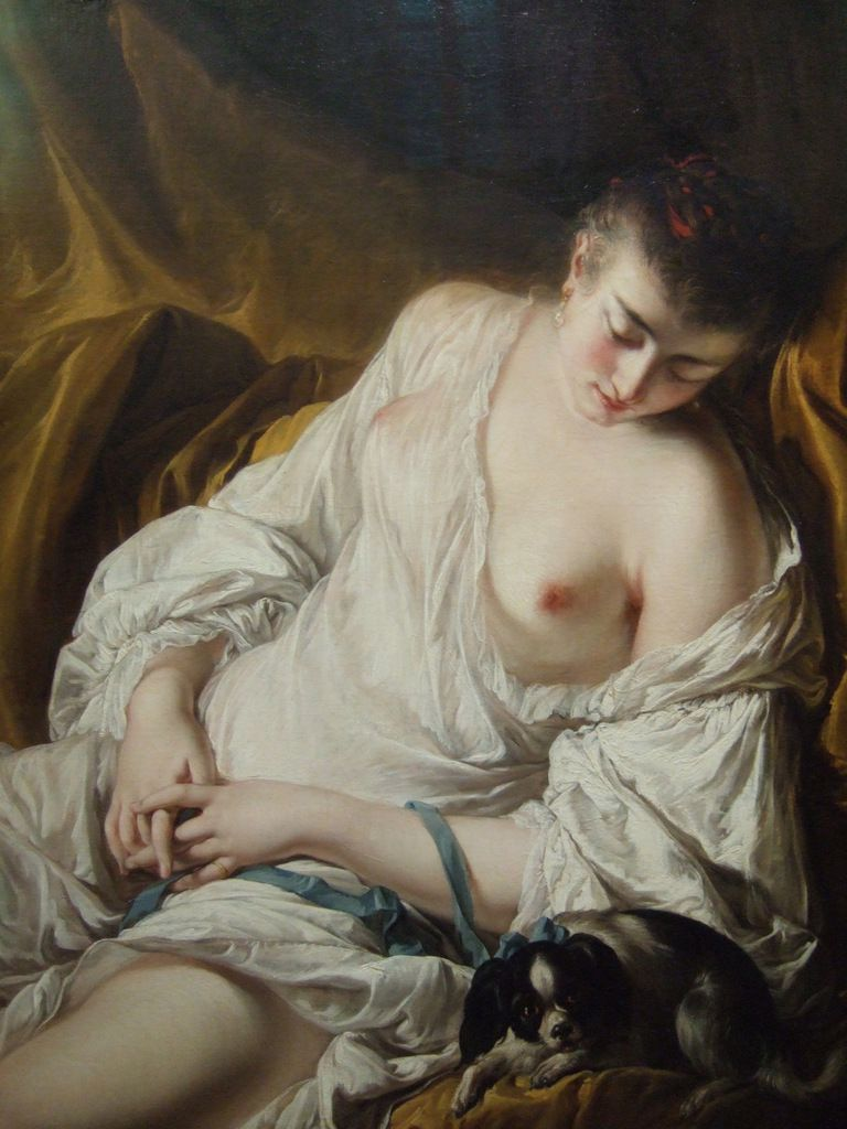 """Femme endormie dite """"La fidélité surveillante"""" / Jean-Baptiste Deshays, 1759"""