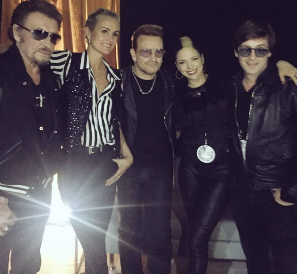 Johnny et Leaticia Hallyday ,Bono ,Thomas Dutronc.
