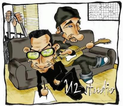 Caricature Bono et The Edge au Studio