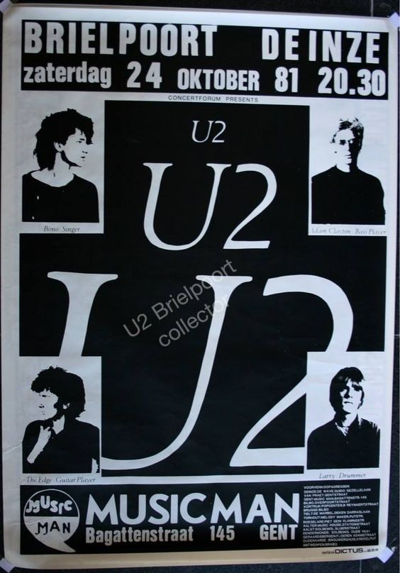 U2 -Affiche concert -Brielport - Belgique -24/10/1981
