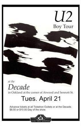 U2 -Affiche concert -The Decade -Pittsburgh-21/04/1981