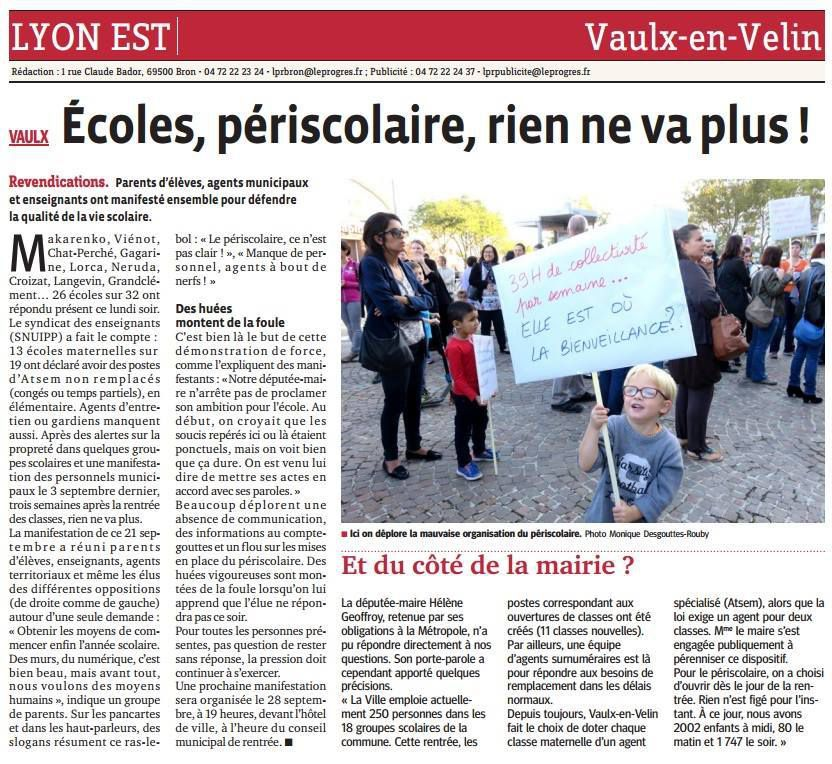 L'article du Progrès du 22 septembre