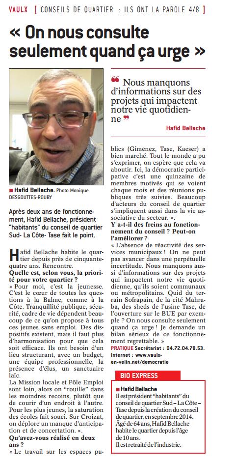 Article dans Le Progrès du mercredi 15 mars 2017 (édition Est-lyonnais)