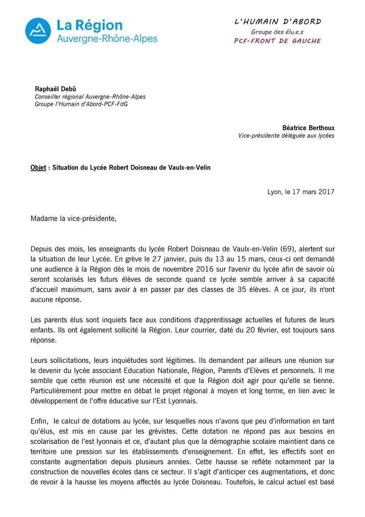 LYCÉE DOISNEAU : Lettre de Raphaël Debû, conseiller régional (PCF - Front de Gauche) à Béatrice Berthoux, vice-présidente déléguée aux lycées.