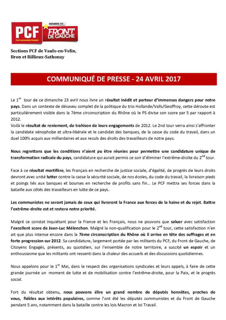 [PRESIDENTIELLES 2017] : Communiqué de presse des communistes de la 7ème circonscription