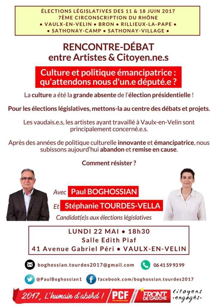 Rencontre/débat Culture : Lundi 22 mai, 18h30