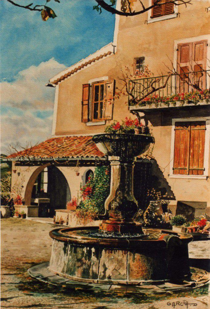 Fontaine Place de la Fondue -MOUSTIERS Sainte MARIE-