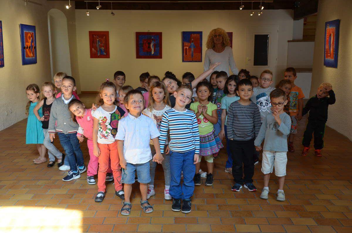 classe de maternelle du Boulou venue voir l'expo de Christian KERAMIDAS à la rentrée de septembre 2015