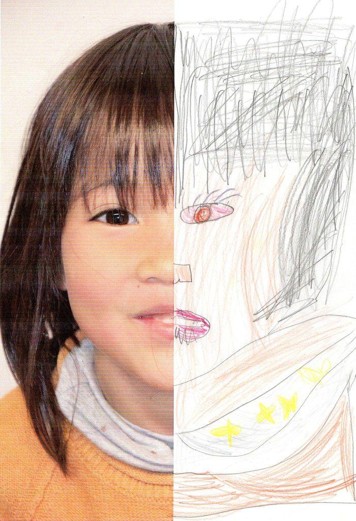 à partir d'une photo prise de son visage (ici ZELIE) dont on cachera la moitié, l'enfant devra compléter la partie manquante