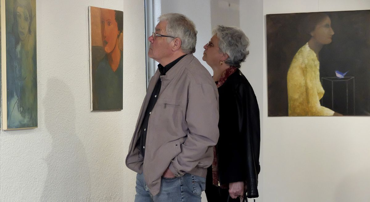 Le Maire de Cassagnes et son épouse (photos du vernissage: Ch. Erre)