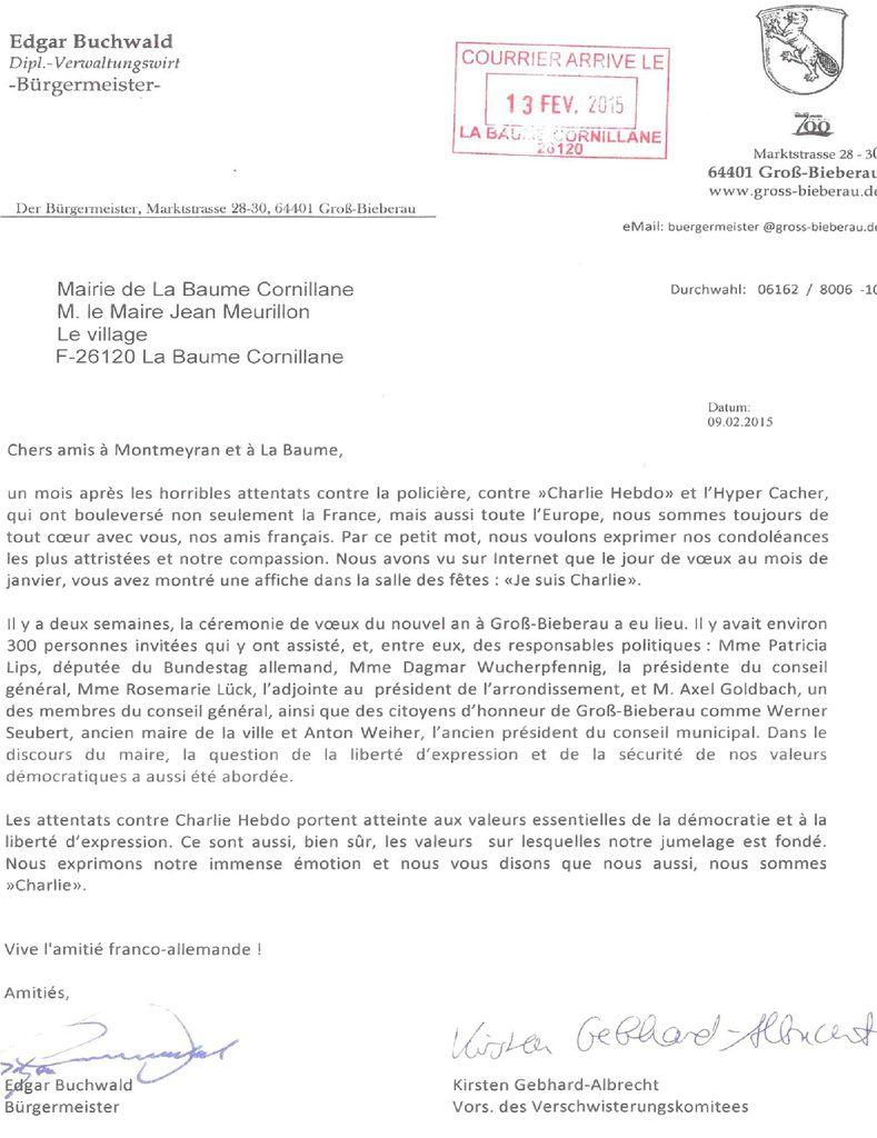 Ci-dessus , le courrier reçu à la mairie de La Baume Cornillane, le même est arrivé à la mairie de Montmeyran.