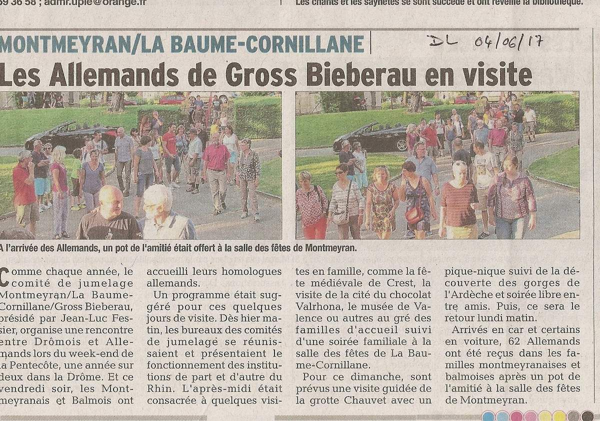 Dans la presse Dauphiné Libéré du 4 , 5 , 6 juin 2017