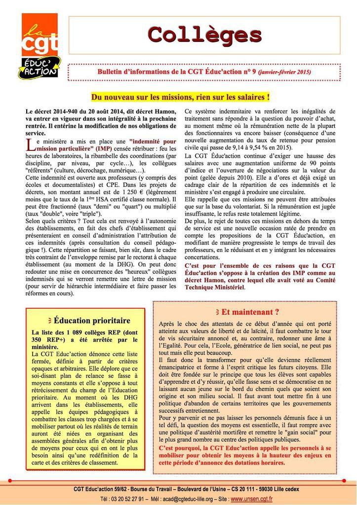 Le bulletin collège n°9 de la CGT Educ'action