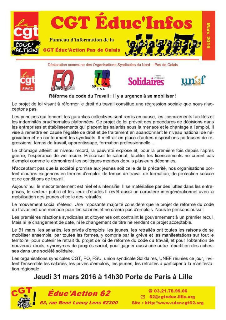 Le bulletin CGT Educ infos de mars 2016