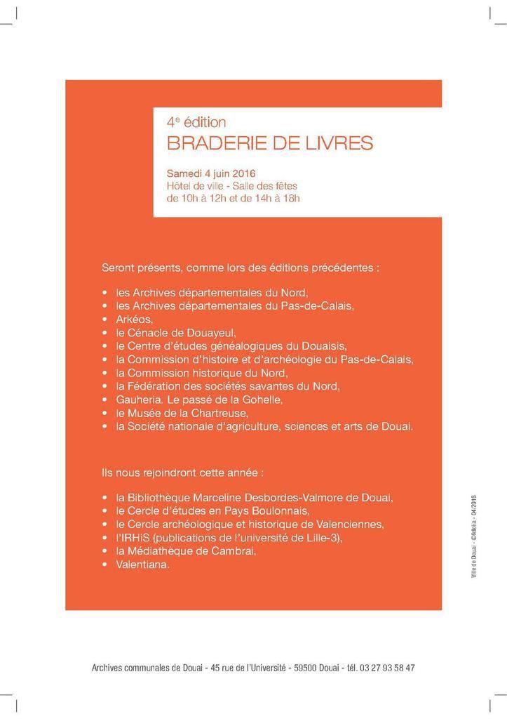 Les archives communales de Douai organisent leur 4ème braderie de livres neufs à prix réduits