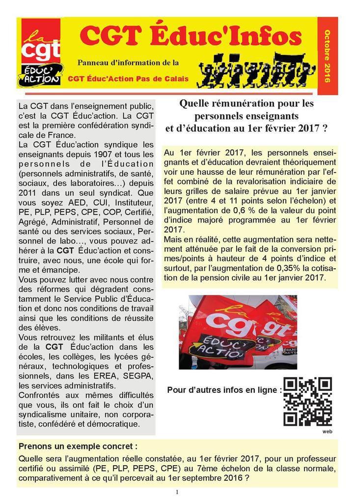 Le bulletin CGT Educ infos d'octobre 2016