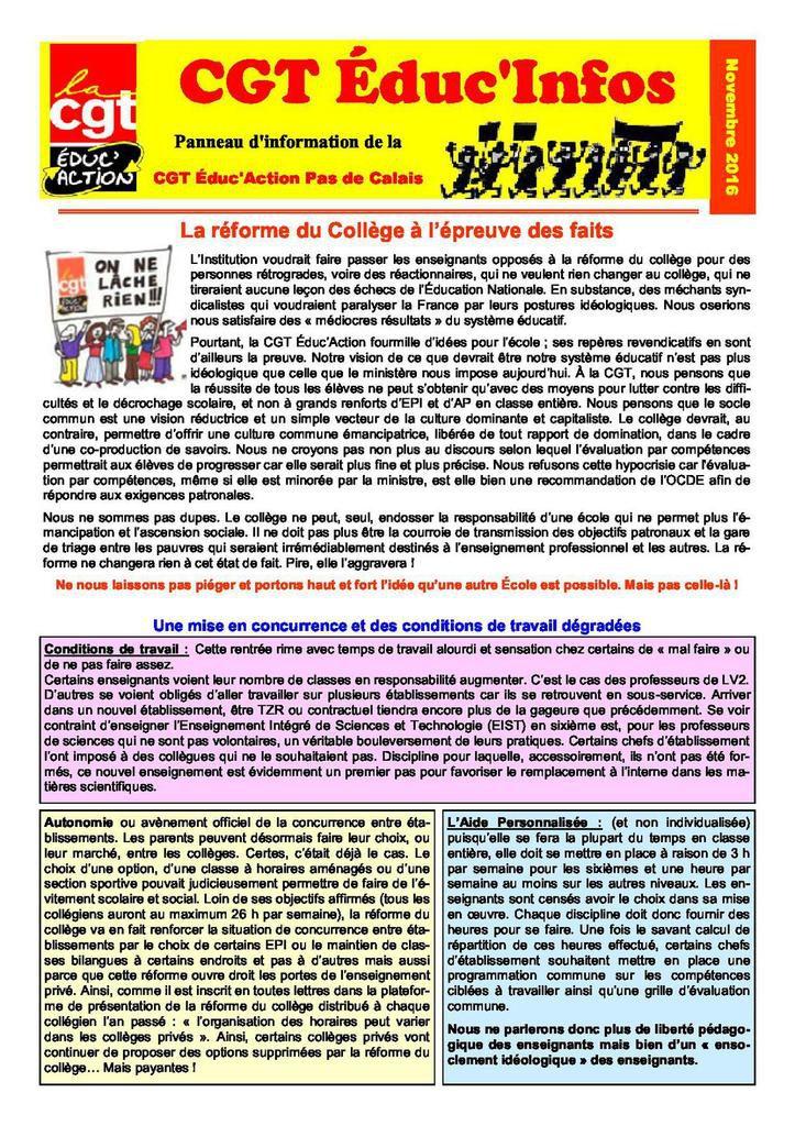 Le bulletin CGT Educ infos n° 9 de novembre 2016