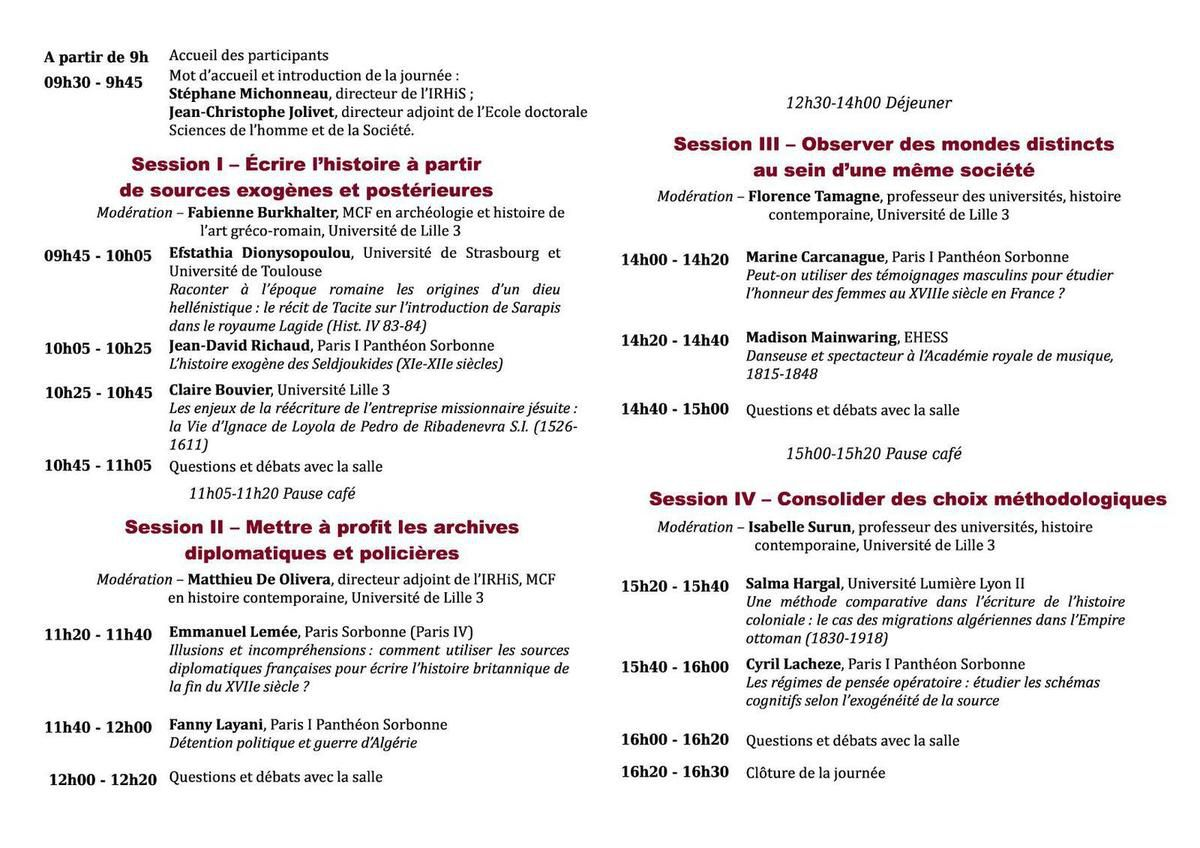 Une journée d'études de l'Association des Jeunes Chercheurs en Histoire sur &quot&#x3B;les sources exogènes&quot&#x3B; organisée à Lille III le 19 mai prochain