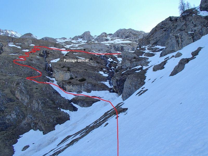 Passage après le barrage de Senin ...Faut pas bamber ! Fin du ski au pont à 1 500m.