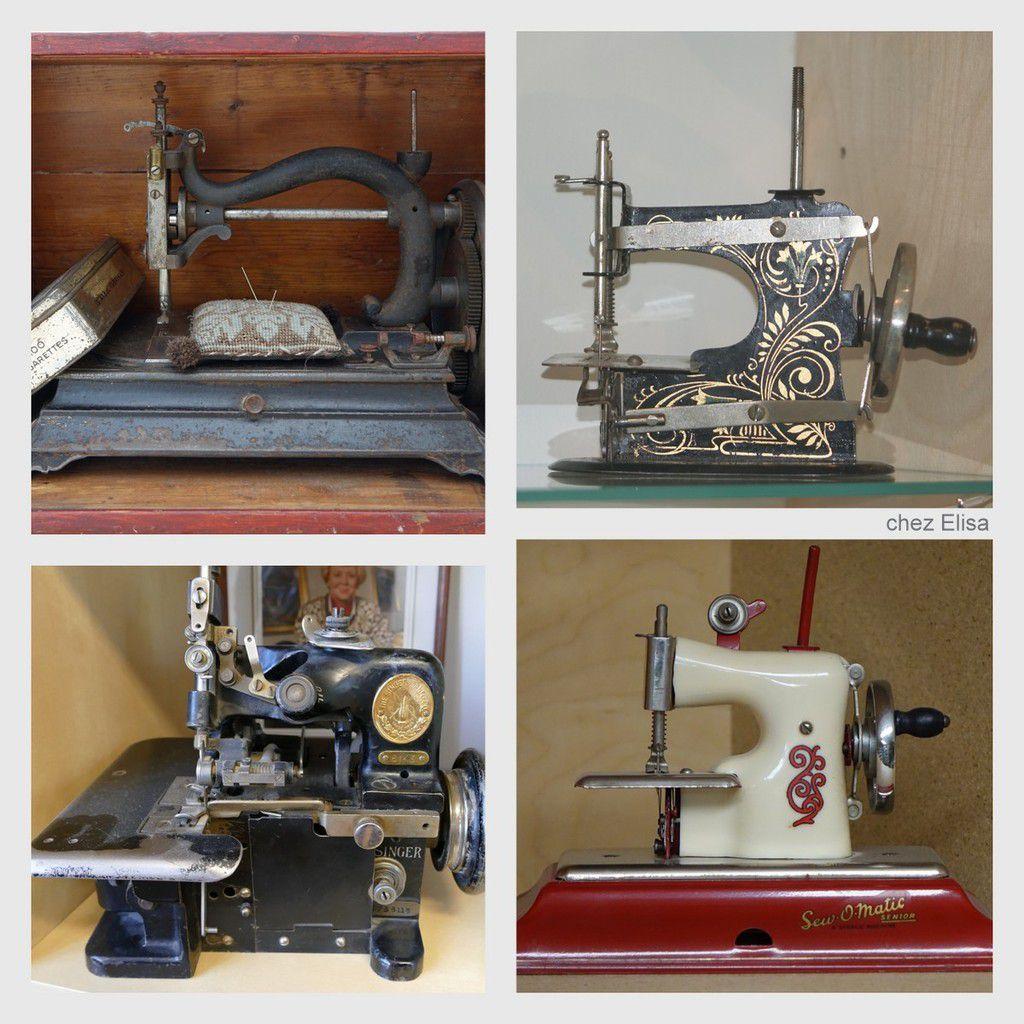 4 machines miniatures ou jouets de diverses époques dont une SINGER