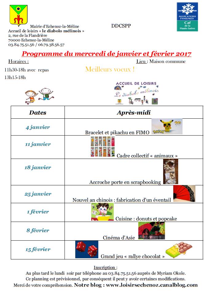 Programme du mercredi de janvier et février 2017