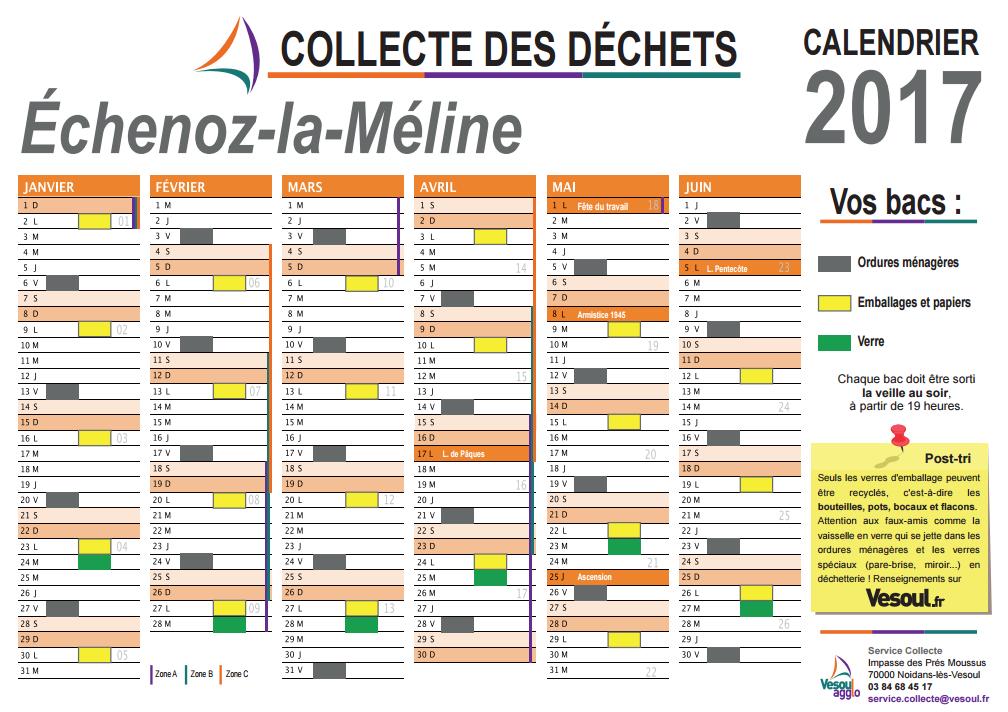 Calendrier de collecte des déchets 2017
