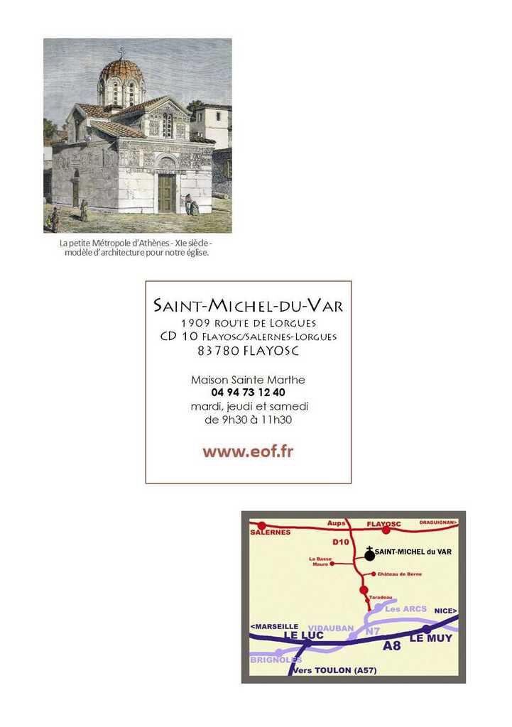 Dédicace de l'Eglise Saint-Michel du Var : 29, 30 septembre &amp&#x3B; 1er octobre