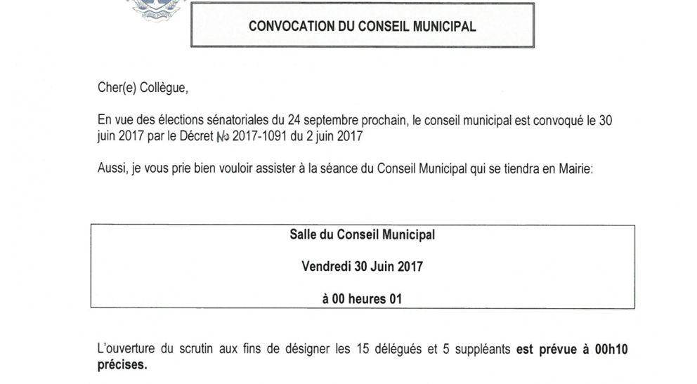 Ordre du jour du Conseil municipal du jeudi 29 juin 2017 à 21 heures suivi d'un second Conseil municipal à 0 heure 10