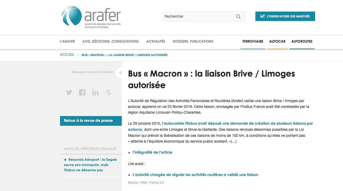 Car : Liaison Brive- Limoges autorisée par l'ARAFER