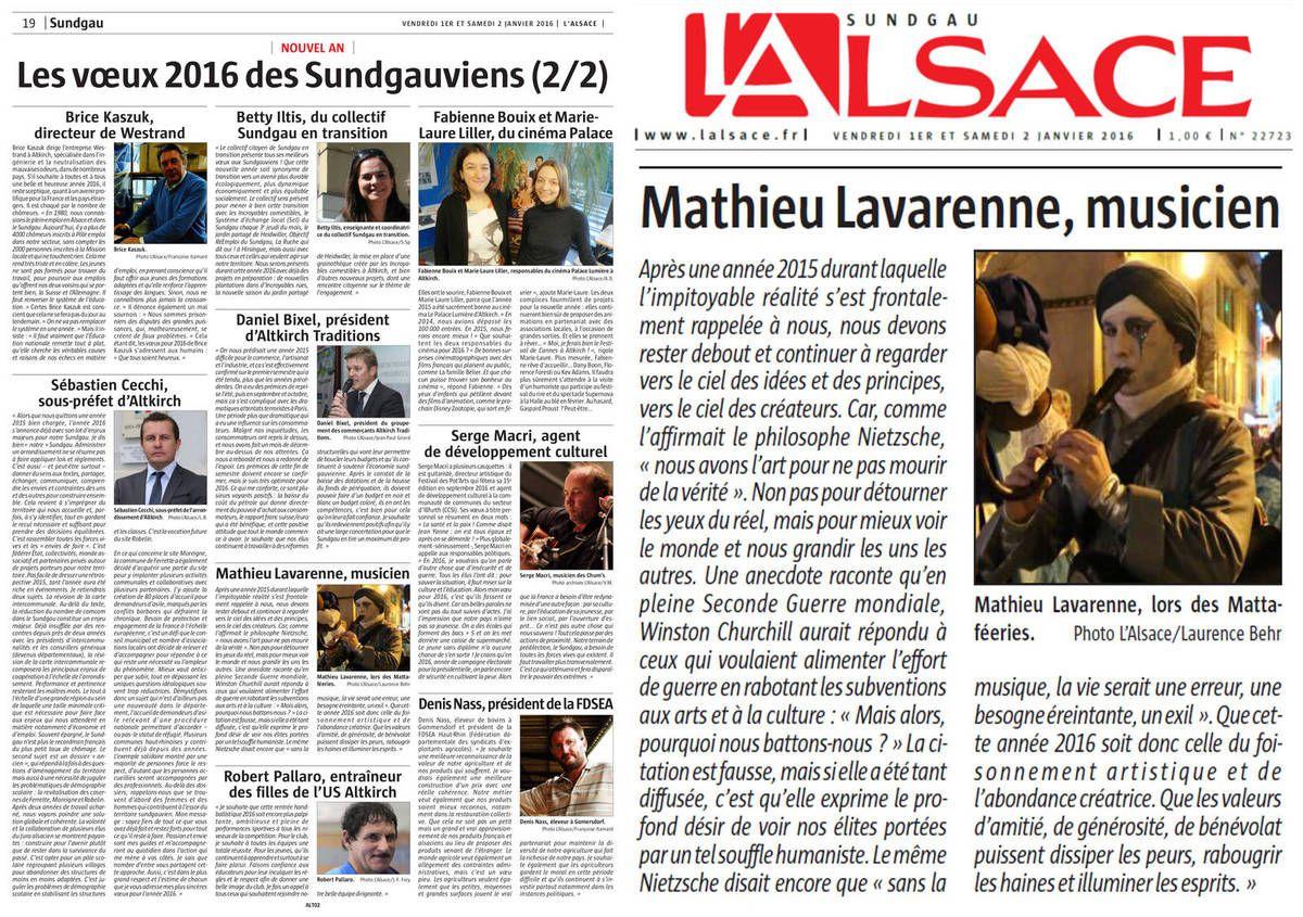 Les voeux de Mathieu Lavarenne, membre de la troupe, dans le journal L'Alsace du 1 janvier 2016