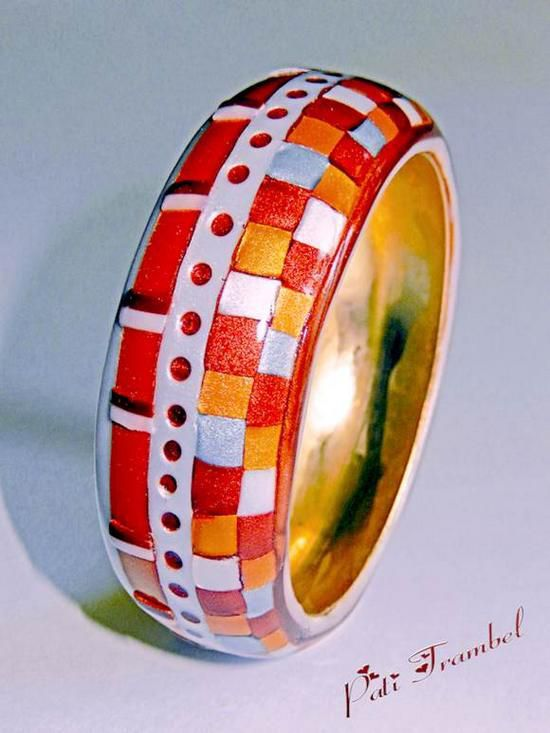 """Bracelet """" Orfèvrerie Métallique """" ! Vue sur face Patchwork......."""