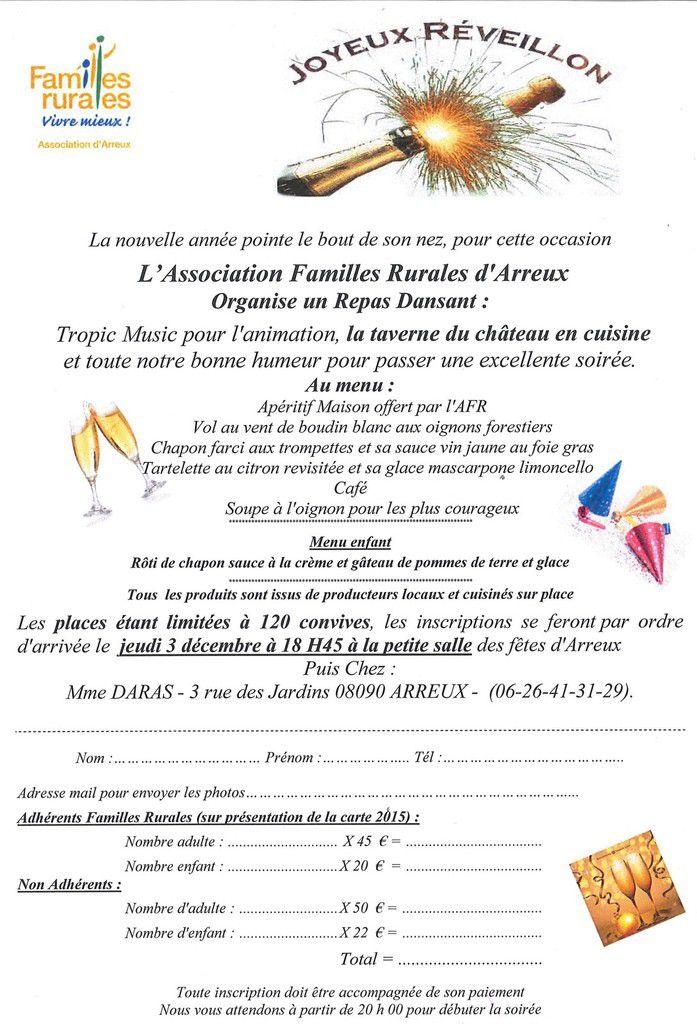 Reveillon de la St Sylvestre organisé par FR d'Arreux