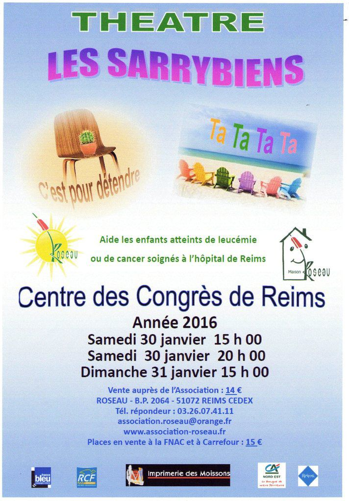 Théâtre pour l'Association Roseau les 30 et 31 janvier 2016