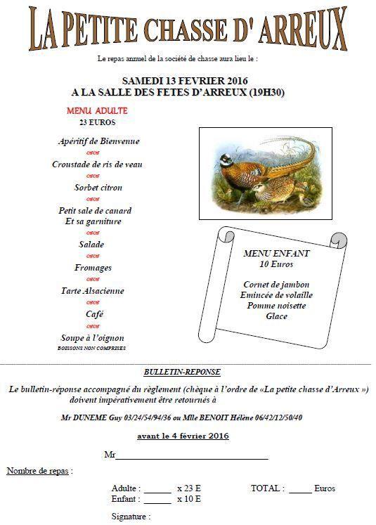 Repas de la Petite Chasse d'Arreux, Samedi 13 février 2016
