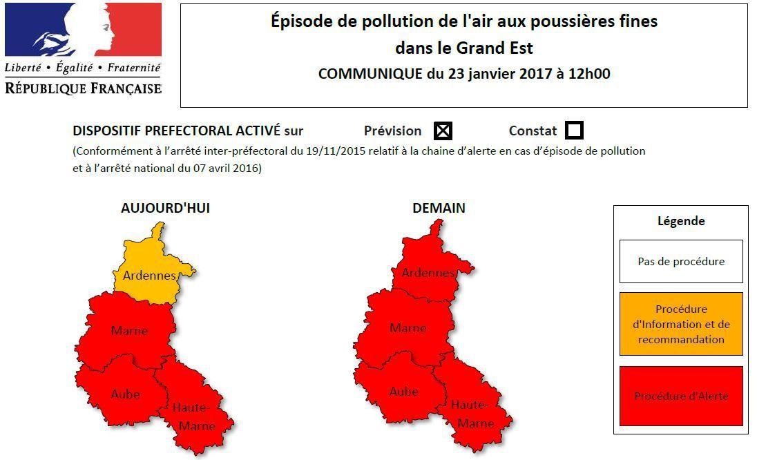 Pollution atmosphérique - Mesures d'Urgence - Préfet des Ardennes