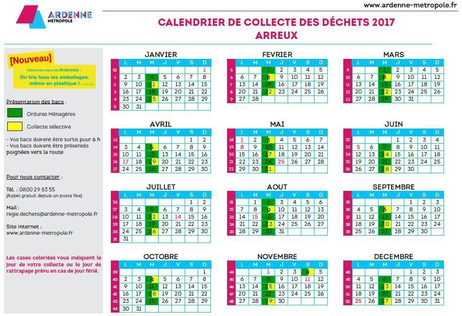 Infos : Ordures Ménagères, Tri sélectif, Calendrier de collecte, Décheteries