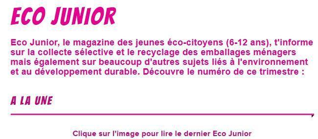 Le magazine Eco-Junior et cahier de jeux 2017 sont en ligne