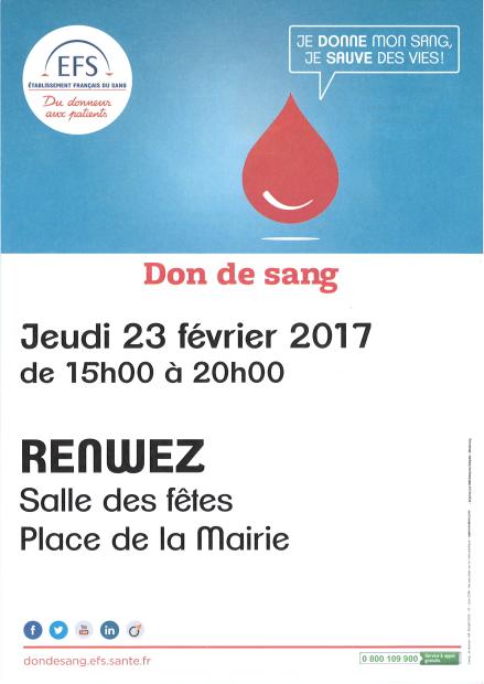 Don du sang : Renwez Jeudi 23/02/2017