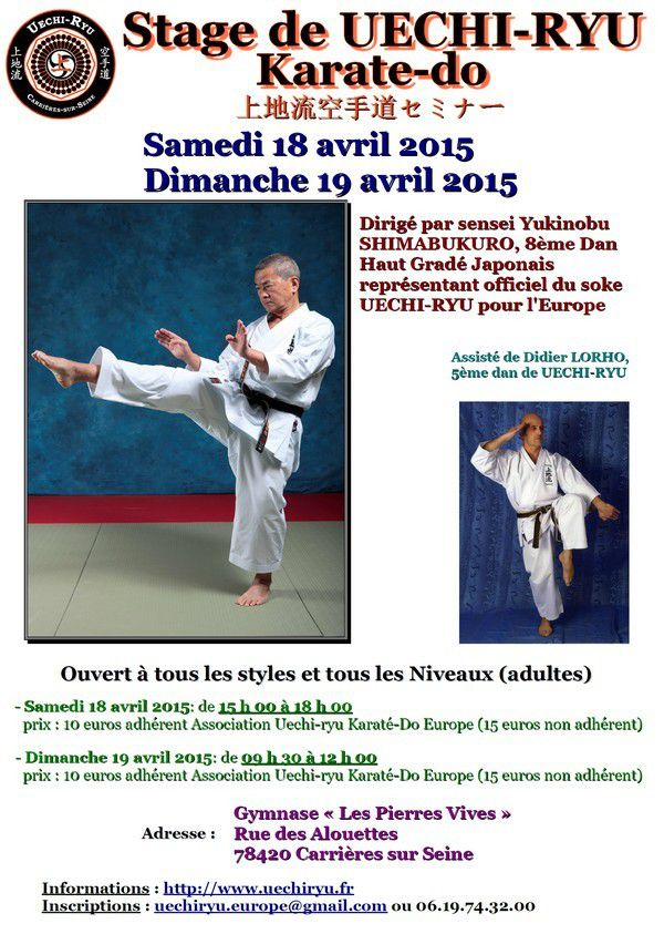 [Annonce][Changement] Stage de Uechi-ryu - 19 avril 2015