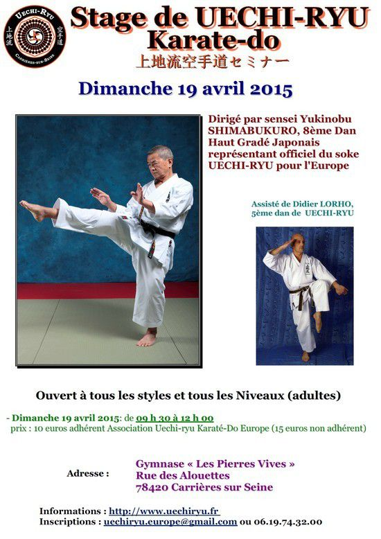 [Annonce] Stage de Uechi-ryu - 19 avril 2015