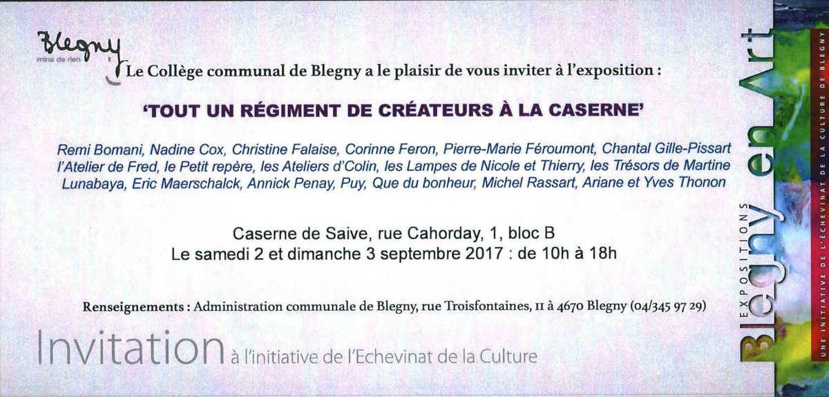 Invitation pour l'exposition '' Tout un régiment de créateurs à la caserne ''